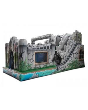 Tobogã Inflável Castelo com Piscina de Bolinhas - 3m x 7,3m x 3,9m